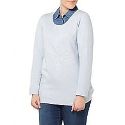 Evans - Blue beaded snowflake jumper