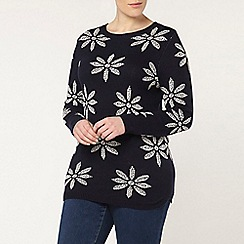 Evans - Navy and white daisy jumper