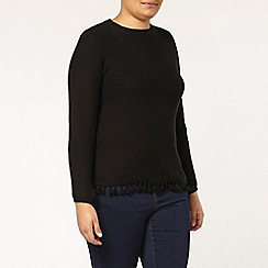 Evans - Black textured tassel jumper