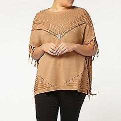 Evans - Camel fringed poncho top