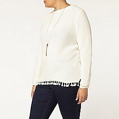 Evans - Ivory textured tassel jumper