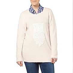 Evans - Pink lace owl motif jumper