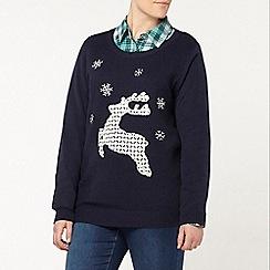 Evans - Navy lace reindeer christmas jumper