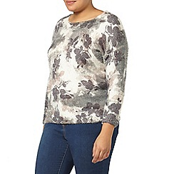 Evans - Floral print fluffy jumper