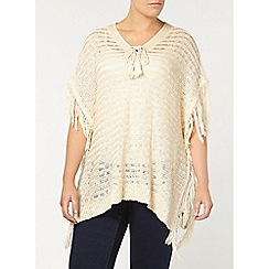 Evans - Cream tie neck jumper