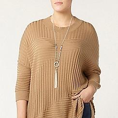 Evans - Brown knitted high neck jumper