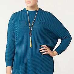 Evans - Teal blue knitted high neck jumper