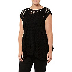 Evans - Black open stitch swing top