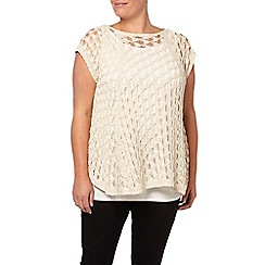 Evans - Cream open stitch swing top