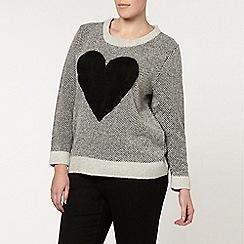 Evans - Grey brushed heart jumper
