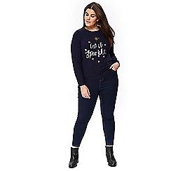 Evans - Navy blue 'let it sparkle' slogan jumper