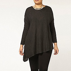 Evans - Grey rib asymmetric jumper