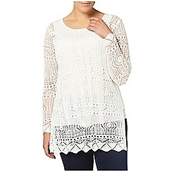 Evans - Ivory open stitch tunic