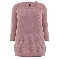 Evans - Light pink textured stitch jumper