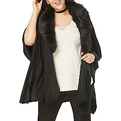 Evans - Black faux fur knitted wrap