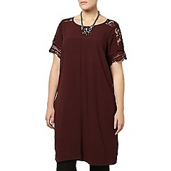 Evans - Live unlimited red lace sleeve dress