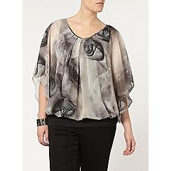 Evans - Live unlimited grey floral print top