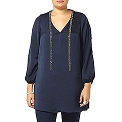 Evans - Live unlimited navy woven blouse