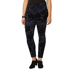 Evans - Live unlimited navy flocked trousers