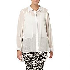 Evans - Ivory chiffon panel shirt