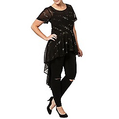 Evans - Gold sparkle hi lo hem top