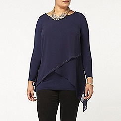 Evans - Live unlimited navy studded top