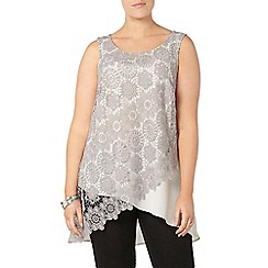 Evans - Grey lace overlay top