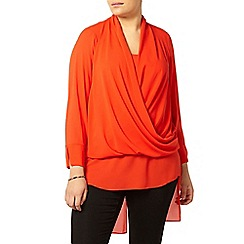 Evans - Red drape front blouse