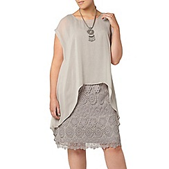Evans - Grey lace overlay dress