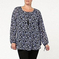 Evans - Black print gypsy top