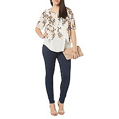 Evans - Ivory and blue busty bird print overlay top