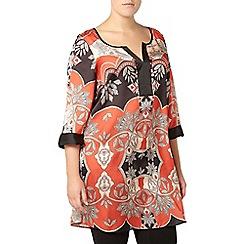 Evans - Orange scarf print tunic