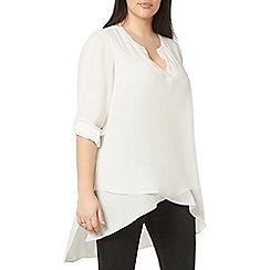 Evans - Ivory collarless shirt