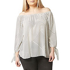 Evans - White monochrome stripe bardot top