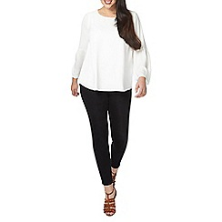 Evans - Ivory fluted sleeves top