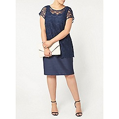 Evans - Live unlimited navy lace overlay dress