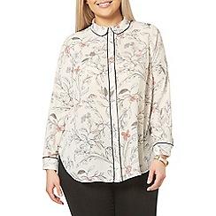 Evans - Ivory floral print pyjama style shirt