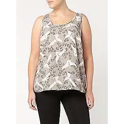 Evans - Ivory and grey bird print cami top