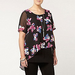 Evans - Floral print busty fit overlay top