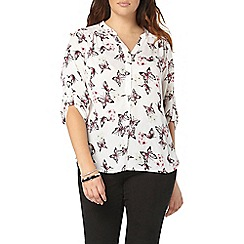Evans - Busty fit ivory butterfly shirt