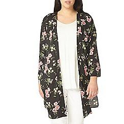 Evans - Black floral kimono