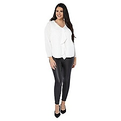 Evans - White frill front blouse