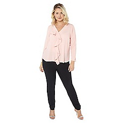 Evans - Pink frill front top