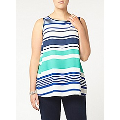 Evans - Blue and white striped vest top