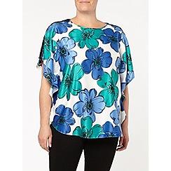 Evans - Blue floral cape top