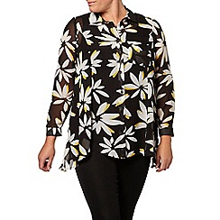 Evans - Black and yellow daisy oversize shirt