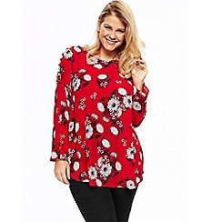 Evans - Red button shoulder top