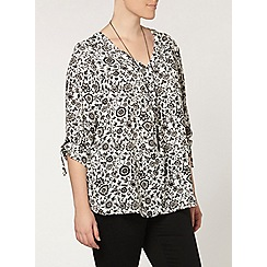 Evans - Black and ivory print shirt