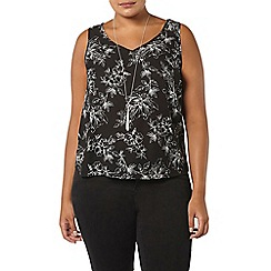Evans - Black floral print busty fit vest