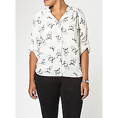 Evans - Ivory butterfly print busty fit blouse